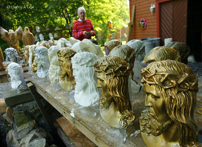 After years in the wilderness, Ed found God and his artistic calling . . . creating plaster busts of Mary and Jesus.