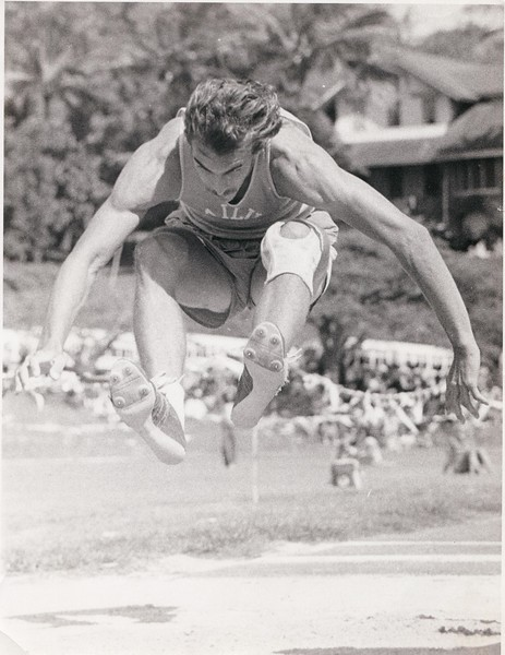 """Me, winning 5th place in the 1975 Hawaii State Track Champs, in the Triple Jump. 43' 11"""". This was my junior year at Kailua Highschool. The location was Punahoe field on Oahu."""