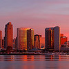 Panoramic of the San Diego skyline at surnrise, California.