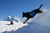 Moka leaps off a snow bank near Artist Point.