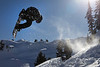Luke Wyman flips off a snowboard jump near Artist Point in Washington.