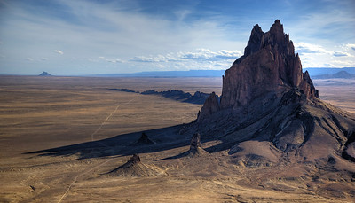 Aerial view of Shiprock, New Mexico
