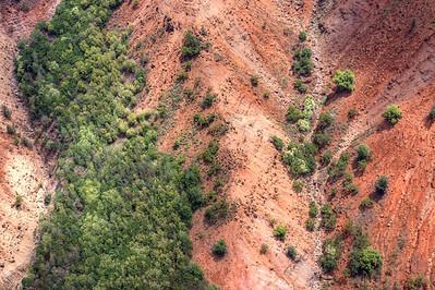 Aerial view of Waimea canyon side wall. HDR treatment of single RAW capture.