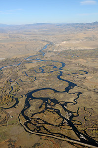 Aerial Photo of The Madison River, Jefferson River and Gallatin River converge in Three Forks Montana to form the Missouri River in Montana