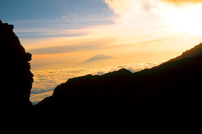Sunset on Mount Meru from Barafu Hut, Mount Kilimanjaro