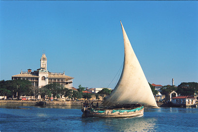 Native Dhow and House of Wonders, Zanzibar, Stone Town Harbor