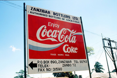 Coca-Cola ad sign Stone Town