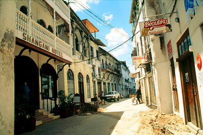 Shangani Hotel on narrow Stone Town street