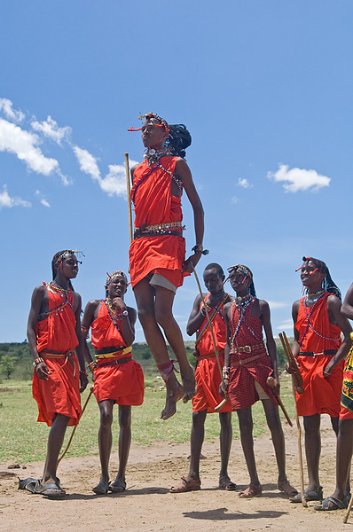 #AF 108 Maasai Tribesman Jumping During Traditional Dance, Kenya