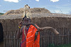 #AF 109 Maasai Tribesman Outside Traditional Hut, Kenya