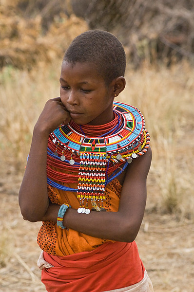 #AF 118 Samburu Girl with Traditional Beaded Neckless, Kenya