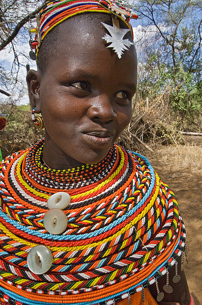 #AF 119 Samburu Girl with Traditional Beaded Neckless, Kenya