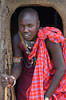 #AF Maasai Tribesman in Doorway of Traditional Hut, Kenya