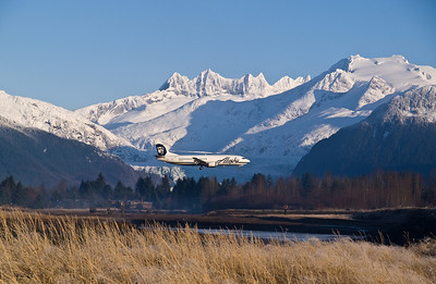 It's quite easy to get a shot of an Alaska Airlines jet in front of the glacier if you are near the river in front of the airport. November 16th, 2009.
