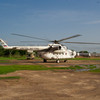 MI-8 just landed at Bor airstrip in Jonglei State South Sudan. Notice the front wheel sinking into the soil. This is in the rainy season