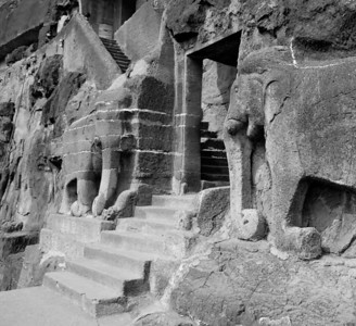 Gateway guarded by kneeling elephants, Ajanta