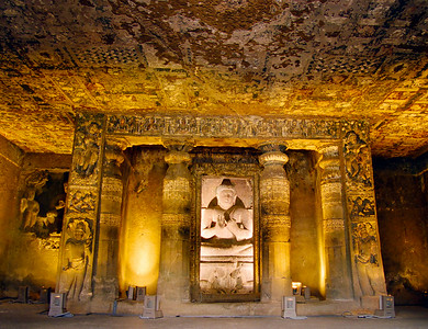 Ornate sanctum with roof paintings, Ajanta
