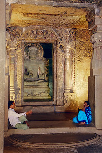 Cave temple columns and the sanctum, Ajanta