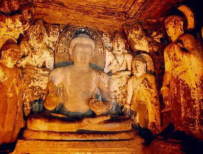 Stone sculpture inside the sanctum of a temple in Ajanta