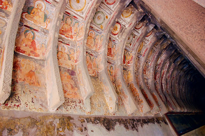 Paintings about the various stages of Buddha's evolution, Ajanta