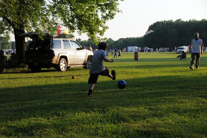 Quinn playing ball