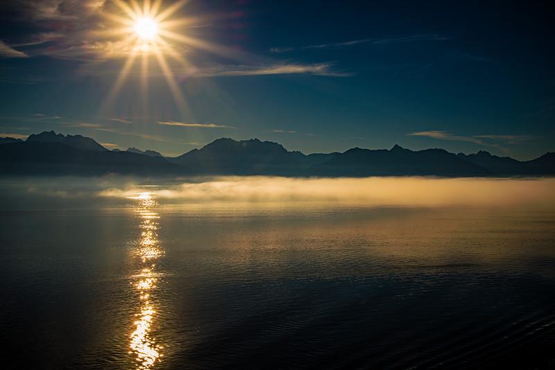Sunrise, entering Glacier Bay, August 9, 2017