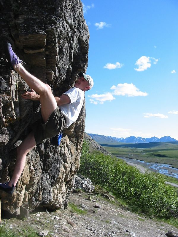 Me bouldering on Savage Rock in Denali National Park.