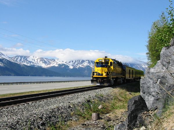 Alaska Rail along Turnagain Arm.  Capt Cook named it Turnagain because it was another deadend and he was forced to turn again.