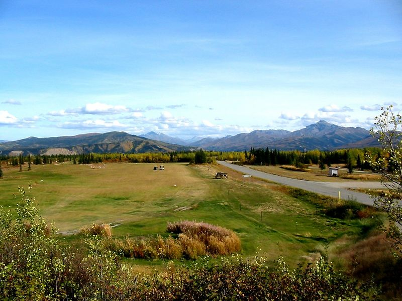 11 Sep 2004, Black Diamond Golf course, Healy Alaska.  I hit a 3 iron 255 yards off this elevated tee.  Every once in a while you can hit like Tiger.  Just not every time.