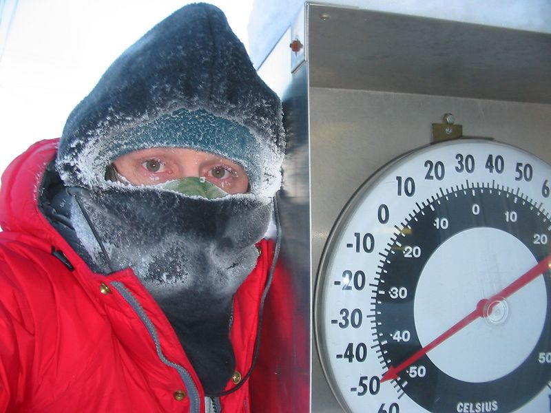 Me on a winter walk at -50.  You wear paper dust filters and balaclavas to keep your lungs from freezing.