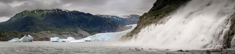 Nugget Creek Falls and the Mendenhall Glacier. Juneau, Alaska.