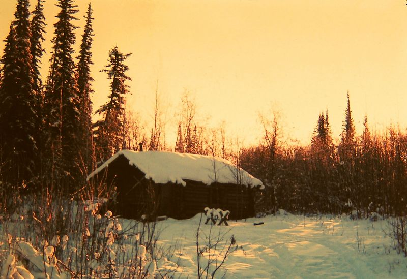 Trapper cabin, -50 F, North Pole, Alaska, jan 1972