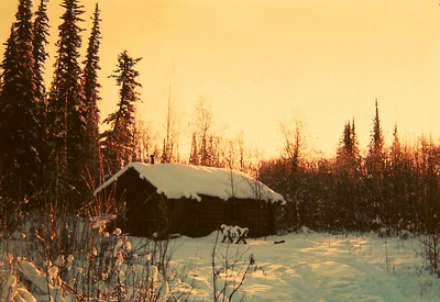 Trapper cabin, -50 F, North Pole, Alaska, jan 1972