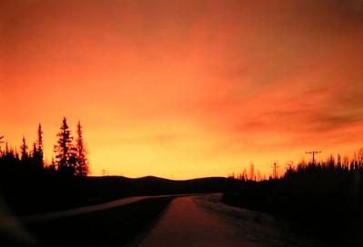 sunrise, late november, 930am,  Alaska Hwy, near Eilelson AFB