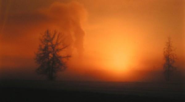 January ice fog, -40 F, Ft Wainwright, Fairbanks, Alaska,
