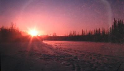 Badger Slough, North Pole, Alaska, winter sunrise