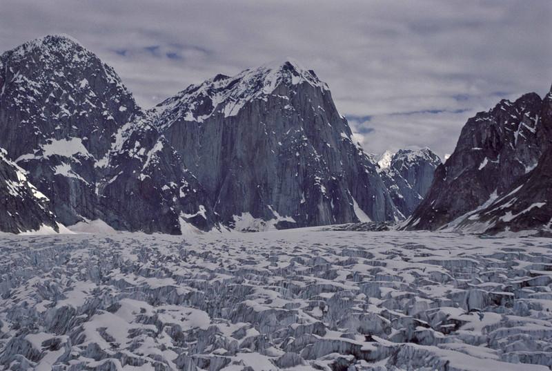 Sheer walls of Mt Bradley and Mt Dickey - Alaska Range.<br /> Photo © Carl Clark