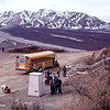 Denali National Park. Tour bus stopped at Polychrome Pass for photos and rest stop. The tour lasts about 8 hours.