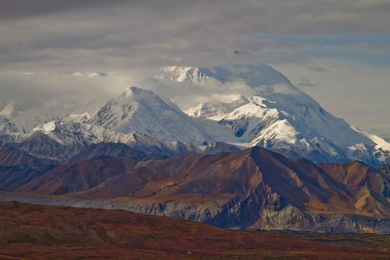 Denali emerging over the autumn colors.<br /> Photo © Carl Clark