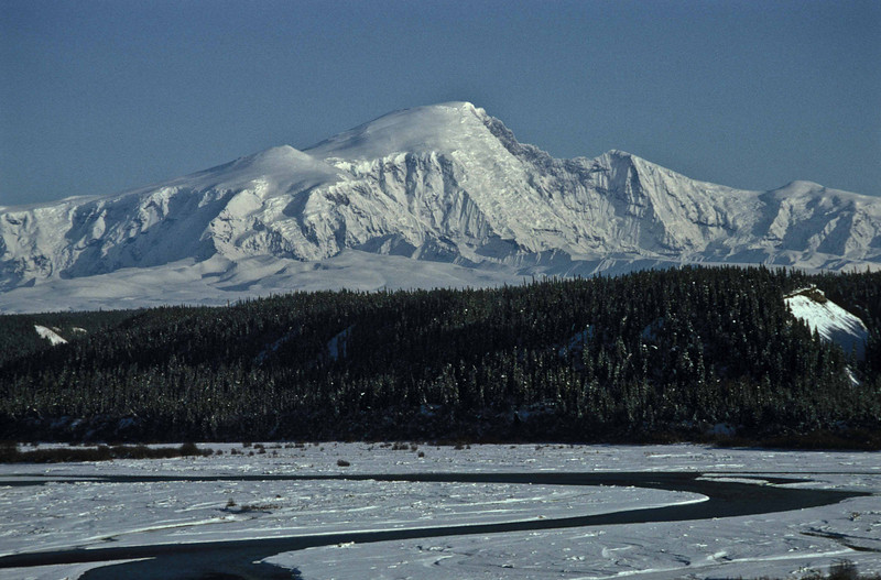 Mt Sanford and the Copper River at the onset of winter.<br /> Photo © Carl Clark