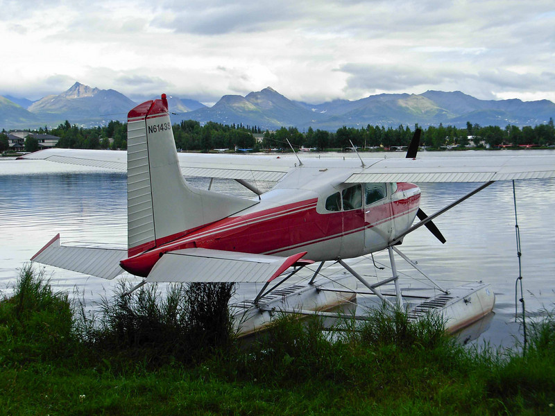One of the plethora of float planes on Lake Hood in Anchorage.<br /> Photo © Carl Clark