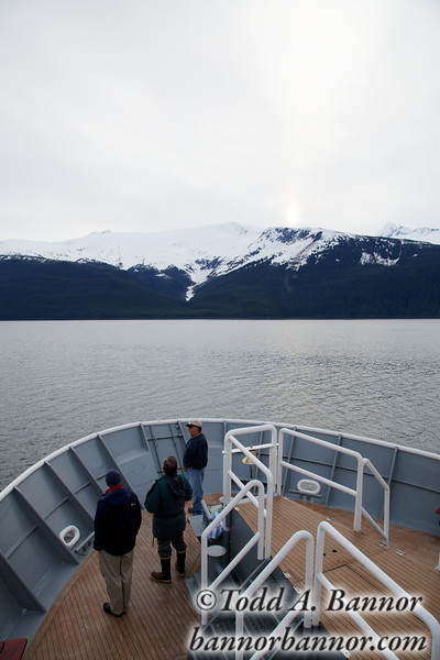 Heading for Tracy Arm at sunrise.