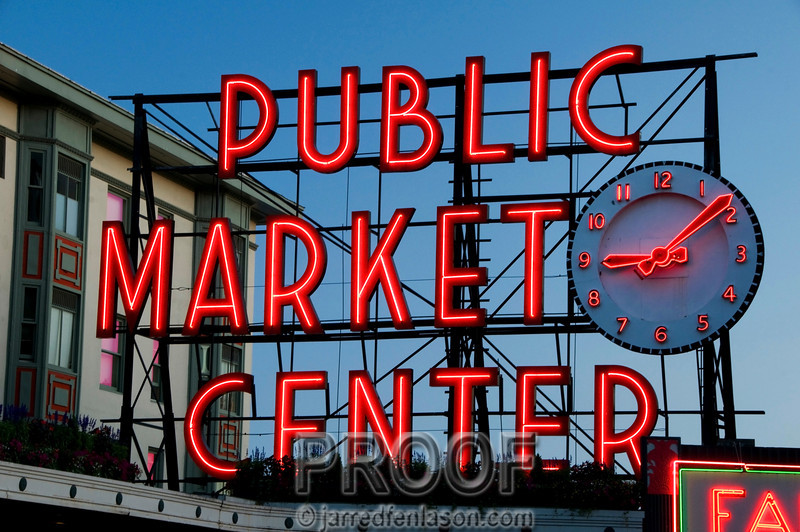 Seattle's Public Market Center at Dusk
