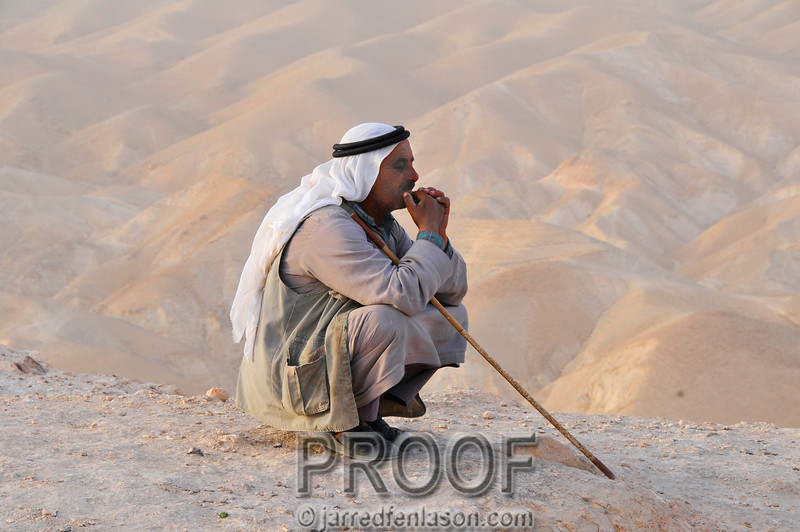 Bedouin Contemplating by the Valley of the Shadow of Death Just Off the Old Jericho Road