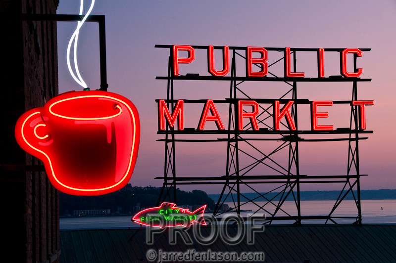 City Fish Market at Sunset - Pikes Place Market in Seattle