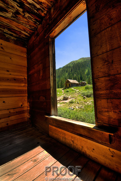Looking Out an Abandoned Gold Miner's Home in the Ghost Town of Animas Forks, Colorado