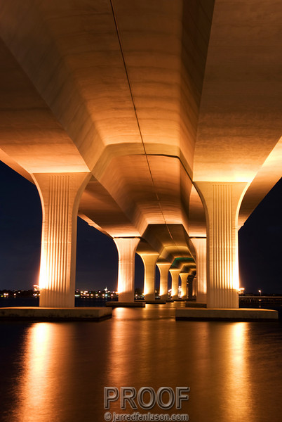 Roosevelt Bridge in Stuart, Florida After Dusk