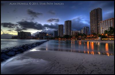 Waikiki Hawaii, dusk.