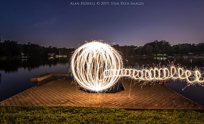 Intense ball of light spinning with large sparklers.