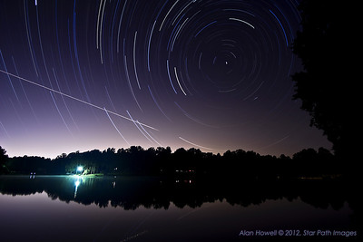 Stars trails over Lynwood with Polaris, the North Star, as the center pole star and 'rotation point' for the exposure.